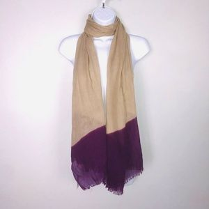 2 Chic Scarf Big Over Sized Tan Purple Wrap MB35